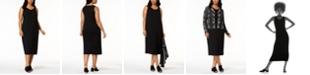 Eileen Fisher Plus Size Sleeveless Stretch Jersey Midi Dress