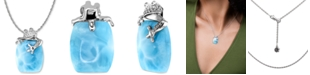 """Marahlago Larimar & White Sapphire (1/10 ct. t.w.) Frog 21"""" Pendant Necklace in Sterling Silver"""