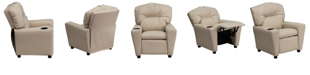 Flash Furniture Contemporary Beige Vinyl Kids Recliner With Cup Holder