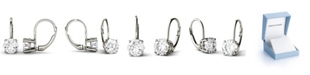 Charles & Colvard Moissanite Leverback Earrings (2 ct. t.w. Diamond Equivalent) in 14k White or Yellow Gold