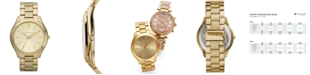 Michael Kors Unisex Slim Runway Gold-Tone Stainless Steel Bracelet Watch 42mm MK3179