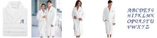 Linum Home 100% Turkish Cotton Personalized Unisex Herringbone Bath Robe - White