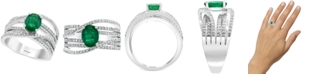 EFFY Collection EFFY® Diamond (1/2 ct. t.w.) & Emerald (1-1/8 ct. t.w.) Ring in 14k White Gold