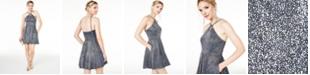 Blondie Nites Juniors' Keyhole Metallic-Glitter Dress