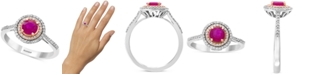 EFFY Collection EFFY®Certified Ruby (5/8 ct. t.w.) & Diamond (1/5 ct. t.w.) Statement Ring in 14k White Gold and 14k Rose Gold
