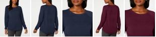Karen Scott Petite Cotton Ribbed Sweater, Created for Macy's