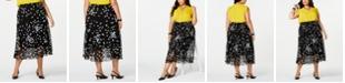 Alfani Plus Size Midi Printed Skirt
