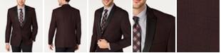 Ryan Seacrest Distinction Men's Modern-Fit Burgundy Plaid Dinner Jacket, Created for Macy's