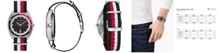 Caravelle Men's Black, White & Red Nylon Nato Strap Watch 40mm