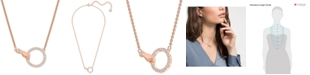 "Swarovski Rose Gold-Tone Crystal Hand & Ring Choker Necklace, 11-7/8"" + 3"" extender"