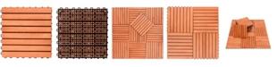 VIFAH Outdoor Patio 8-Slat Eucalyptus Interlocking Deck Tile Set of 10 Tiles