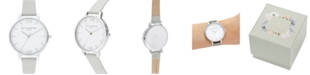Olivia Burton Women's Timeless Gray Leather Strap Watch 38mm