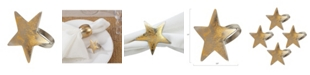 Saro Lifestyle Dinner Napkin Ring with Texture Star Top, Set of 4
