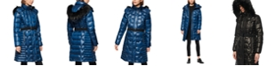 Marc New York Shine Belted Faux Fur Hooded Down Puffer Coat