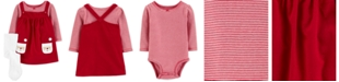 Carter's Baby Girls 3-Pc. Santa Jumper, Striped Bodysuit & Footed Tights Set