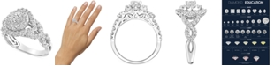Macy's Diamond Halo Braided Shank Engagement Ring (1-1/2 ct. t.w.) in 14k White Gold