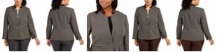Kasper Plus Size Houndstooth-Print Jacket