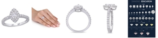 Macy's Marquise Certified Diamond (1 ct. t.w.) Halo Engagement Ring in 14k White Gold