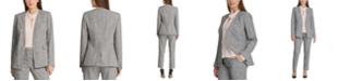 DKNY Petite Plaid Collarless Blazer