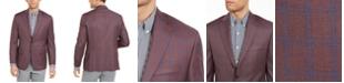 Michael Kors Men's Classic-Fit Burgundy/Blue Plaid Sport Coat