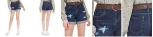 Dollhouse Juniors' Belted Cuffed Denim Shorts