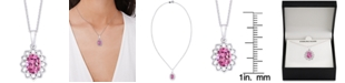 """Macy's Pink Topaz (1-5/8 ct. t.w.) Oval Flower 18"""" Pendant Necklace in Sterling Silver"""
