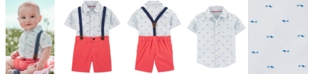 Carter's Toddler Boys 3-Pc. Dog-Print Shirt, Solid Shorts & Suspenders Set