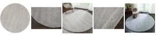 "Long Street Looms Cali Shag CAL01 Silver 7'10"" Round Area Rug"