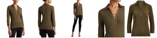 Lauren Ralph Lauren Lace-Up Long Sleeve Top
