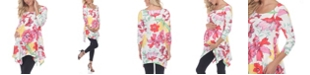 White Mark Women's Maternity Floral Scoop Neck Tunic Top with Pockets