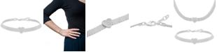 Macy's Cubic Zirconia Heart Mesh Link Bracelet in Sterling Silver