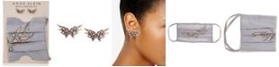 Anne Klein Silver-Tone Crystal Butterfly Stud Earrings & Face Mask Set