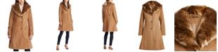 Lauren Ralph Lauren Faux Fur–Trim Wool-Blend Coat, Created For Macy's