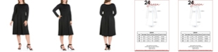 24seven Comfort Apparel Women's Plus Size Fit and Flare Midi Dress