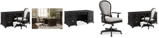 Furniture Clinton Hill Ebony Home Office Furniture Set, 2-Pc. Set (Executive Desk & Upholstered Desk Chair), Created for Macy's