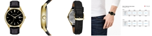 Caravelle  Men's Black Leather Strap Watch 41mm