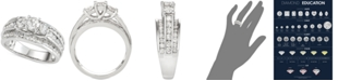 Macy's Diamond Three-Stone Multi-Row Engagement Ring (2 ct. t.w.) in 14k White Gold