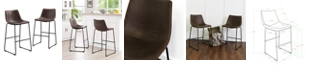 """Walker Edison 30"""" Industrial Faux Leather Barstools, set of 2 - Brown"""
