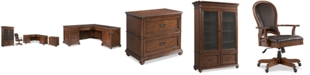 Furniture Clinton Hill Cherry Home Office, 4-Pc. Set (L-Shaped Desk, Lateral File Cabinet, Door Bookcase & Leather Desk Chair), Created for Macy's