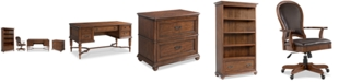 Furniture Clinton Hill Cherry Home Office, 4-Pc. Set (Writing Desk, Lateral File Cabinet, Open Bookcase, & Leather Desk Chair), Created for Macy's