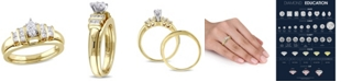 Macy's Certified Diamond (1/2 ct. t.w.) Marquise and Princess-Shape Bridal Set in 14k Yellow Gold