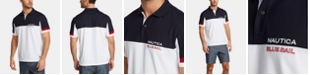 Nautica Nautica Men's Blue Sail Classic-Fit Moisture-Wicking Colorblocked Logo Polo, Created for Macy's