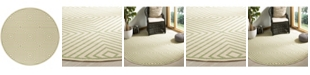 "Safavieh Linden Cream and Olive 6'7"" x 6'7"" Round Area Rug"
