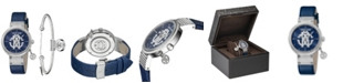 Roberto Cavalli By Franck Muller Women's Swiss Quartz Blue Calfskin Leather Strap With Additional Stainless Steel Bracelet Watch, 34mm
