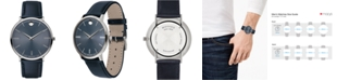 Movado Men's Swiss Ultra Slim Navy Leather Strap Watch 40mm