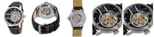Stuhrling Stainless Steel Case on Black Perforated Alligator Embossed Genuine Leather Strap with White Contrast Stitching, Black Skeletonized Dial, with Silver Tone Accents
