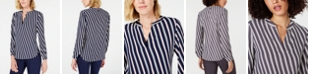 Anne Klein Striped High-Low V-Neck Top