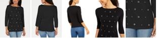 Karen Scott Petite Grommet Cotton 3/4-Sleeve Top, Created for Macy's