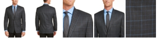 Michael Kors Men's Classic-Fit Charcoal/Blue Plaid Sport Coat