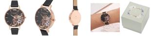 Olivia Burton Women's Black Leather Strap Watch 38mm